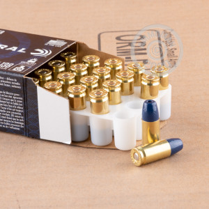 A photograph detailing the 9mm Luger ammo with segmented hollow point bullets made by Federal.
