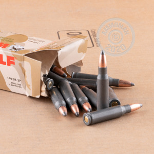 A photograph detailing the 308 / 7.62x51 ammo with soft point bullets made by Wolf.