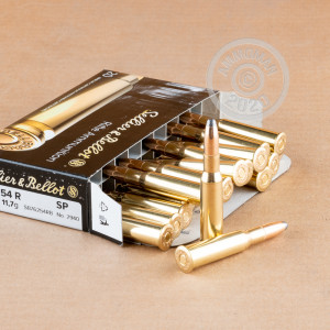 A photograph of 20 rounds of 180 grain 7.62 x 54R ammo with a soft point bullet for sale.