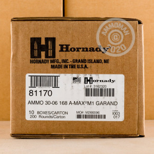 Image of Hornady 30.06 Springfield rifle ammunition.