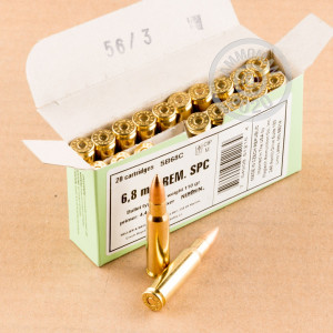 A photo of a box of Sellier & Bellot ammo in 6.8 SPC.