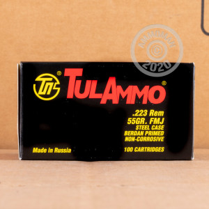Photo detailing the 223 REMINGTON TULA 55 GRAIN FULL METAL JACKET (100 ROUNDS) for sale at AmmoMan.com.