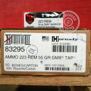 Photo detailing the .223 REMINGTON HORNADY TAP GMX 55 GRAIN HP (200 ROUNDS) for sale at AmmoMan.com.