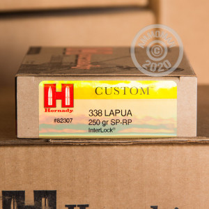 Photograph showing detail of 338 LAPUA HORNADY CUSTOM 250 GRAIN SOFT POINT (20 ROUNDS)