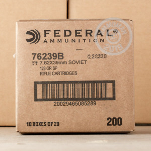 An image of 7.62 x 39 ammo made by Federal at AmmoMan.com.