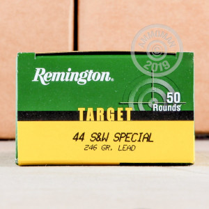 A photograph detailing the 44 Special ammo with Lead Round Nose (LRN) bullets made by Remington.