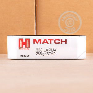 Image of the .338 LAPUA HORNADY MATCH 285 GRAIN BTHP (120 ROUNDS) available at AmmoMan.com.