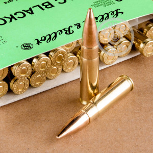 A photo of a box of Sellier & Bellot ammo in 300 AAC Blackout.