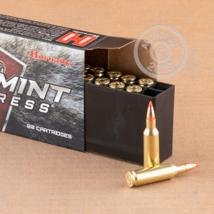 Image of .224 Valkyrie ammo by Hornady that's ideal for hunting varmint sized game.