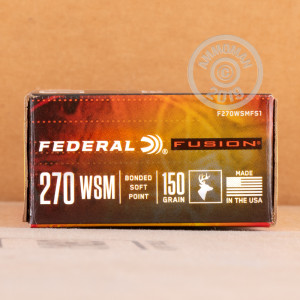 A photograph detailing the 270 Winchester ammo with Fusion bullets made by Federal.