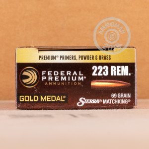 Image of the 223 REMINGTON FEDERAL PREMIUM SIERRA MATCHKING GOLD METAL 69 GRAIN BTHP (20 ROUNDS) available at AmmoMan.com.