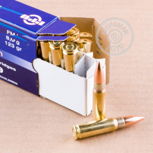 A photograph of 20 rounds of 123 grain 7.62 x 39 ammo with a FMJ bullet for sale.