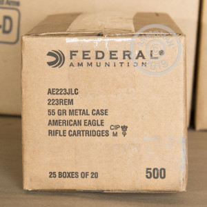 Photograph showing detail of .223 REMINGTON FEDERAL AMERICAN EAGLE 55 GRAIN FMJ-BT (20 ROUNDS)