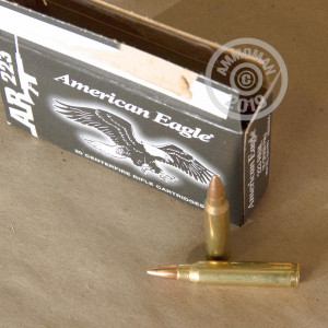 Photo detailing the .223 REMINGTON FEDERAL AMERICAN EAGLE 55 GRAIN FMJ-BT (20 ROUNDS) for sale at AmmoMan.com.
