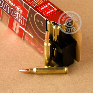 A photograph of 20 rounds of 75 grain 5.56x45mm ammo with a Hollow-Point Boat Tail (HP-BT) bullet for sale.