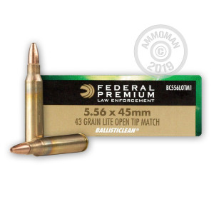 A photograph detailing the 5.56x45mm ammo with Open Tip Match bullets made by Federal.
