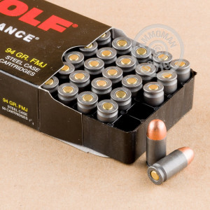 Photo of .380 Auto FMJ ammo by Wolf for sale at AmmoMan.com.