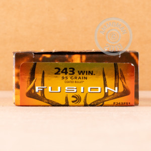 A photograph detailing the 243 Winchester ammo with Fusion bullets made by Federal.