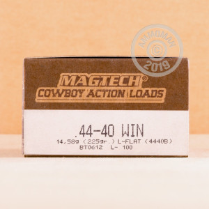 A photograph detailing the 44-40 WCF ammo with Lead Flat Nose bullets made by Magtech.