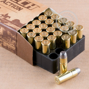 A photograph of 50 rounds of 225 grain 44-40 WCF ammo with a Lead Flat Nose bullet for sale.