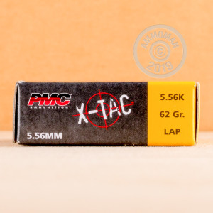 Photograph showing detail of 5.56x45MM PMC X-TAC GREEN TIP NATO 62 GRAIN FULL METAL JACKET (20 ROUNDS)