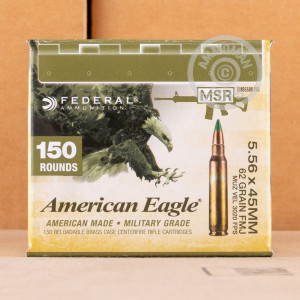 Photo detailing the 5.56 NATO FEDERAL LAKE CITY M855 62 GRAIN FMJ (150 ROUNDS) for sale at AmmoMan.com.
