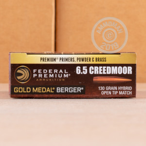 Photograph showing detail of 6.5MM CREEDMOOR FEDERAL GOLD MEDAL BERGER 130 GRAIN HYBRID OTM (20 ROUNDS)