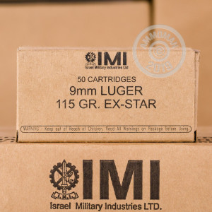 Image of 9mm Luger ammo by Israeli Military Industries that's ideal for home protection, training at the range.