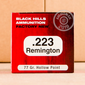 Image of 223 Remington ammo by Black Hills Ammunition that's ideal for precision shooting, training at the range.
