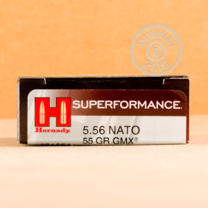 Photograph showing detail of 5.56X45MM HORNADY SUPERPERFORMANCE 55 GRAIN GMX (20 ROUNDS)