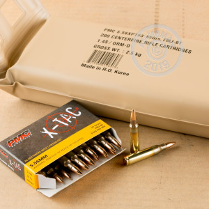 Photograph showing detail of 5.56x45MM XM193 PMC 55 GRAIN FMJ-BT BATTLE PACK (1000 ROUNDS)