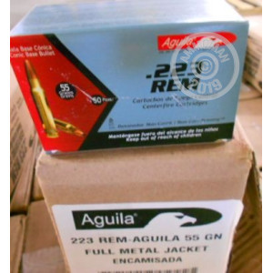A photograph detailing the 223 Remington ammo with FMJ bullets made by Aguila.
