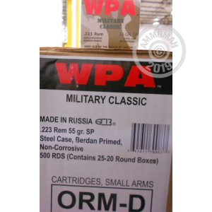 Photograph showing detail of 223 Rem - 55 gr SP - Wolf WPA MC - 20 Rounds