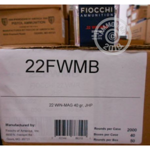 Photograph of .22 WMR ammo with JHP ideal for hunting varmint sized game.