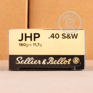 A photograph detailing the .40 Smith & Wesson ammo with JHP bullets made by Sellier & Bellot.