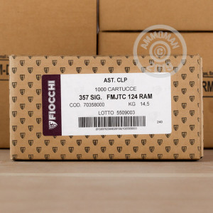 An image of 357 SIG ammo made by Fiocchi at AmmoMan.com.