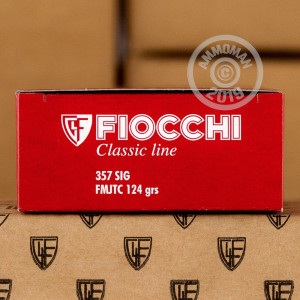 A photograph detailing the 357 SIG ammo with FMJ bullets made by Fiocchi.