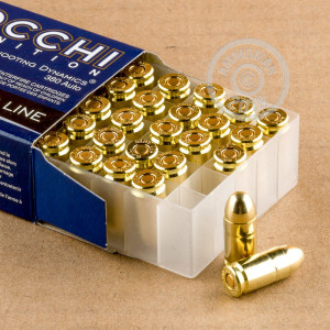 A photograph detailing the .380 Auto ammo with FMJ bullets made by Fiocchi.