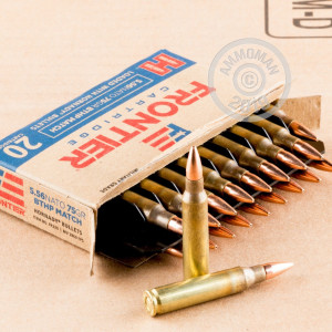 A photograph of 500 rounds of 75 grain 5.56x45mm ammo with a Hollow-Point Boat Tail (HP-BT) bullet for sale.