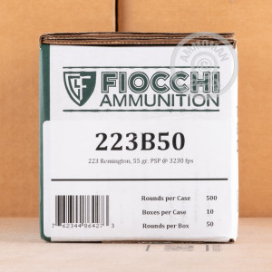 A photograph detailing the 223 Remington ammo with Pointed Soft-Point (PSP) bullets made by Fiocchi.