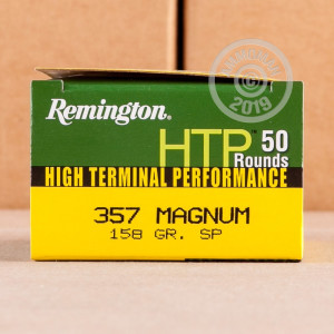 A photograph of 50 rounds of 158 grain 357 Magnum ammo with a soft point bullet for sale.