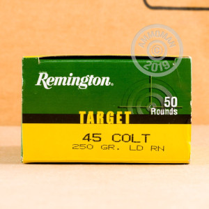 A photograph of 50 rounds of 250 grain .45 COLT ammo with a Lead Round Nose (LRN) bullet for sale.