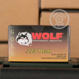 Image of 223 Remington ammo by Wolf that's ideal for training at the range.