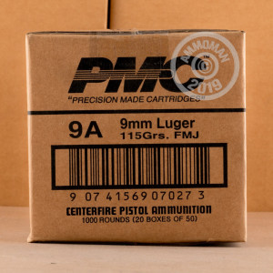A photograph detailing the 9mm Luger ammo with FMJ bullets made by PMC.