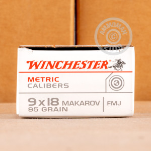 A photo of a box of Winchester ammo in 9x18 Makarov.