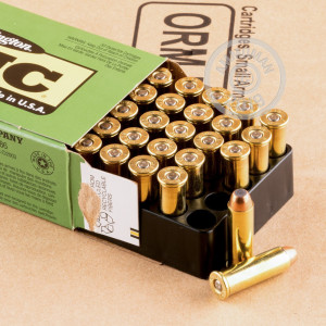 A photograph of 50 rounds of 125 grain 38 Special ammo with a flat nose enclosed bullet for sale.