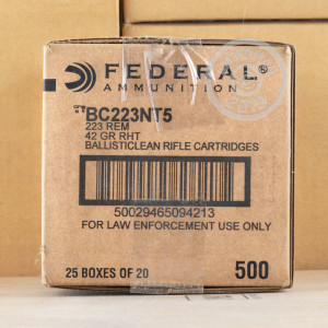 Photo detailing the .223 REMINGTON FEDERAL BALLISTICLEAN FRANGIBLE 42 GRAIN FR (20 ROUNDS) for sale at AmmoMan.com.