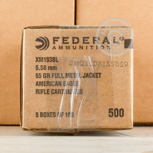 Photo detailing the 5.56X45 FEDERAL AMERICAN EAGLE 55 GRAIN FMJBT XM193 (500 ROUNDS) for sale at AmmoMan.com.