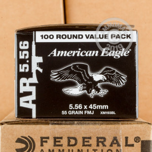Photograph showing detail of 5.56X45 FEDERAL AMERICAN EAGLE 55 GRAIN FMJBT XM193 (500 ROUNDS)