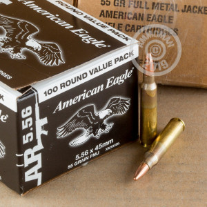 Image of the 5.56X45 FEDERAL AMERICAN EAGLE 55 GRAIN FMJBT XM193 (500 ROUNDS) available at AmmoMan.com.